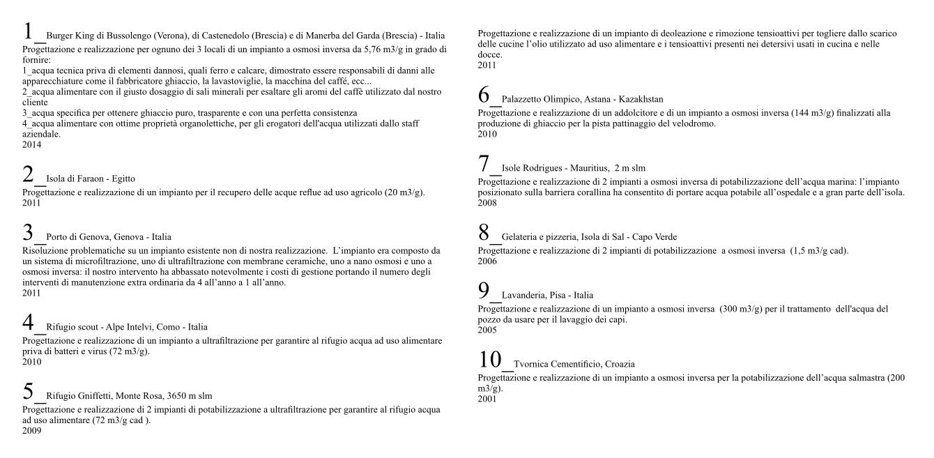 Miniera impianti depurazione acqua Italia ed estero